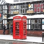 red post box cholmondeley arms tudor church street frodsham
