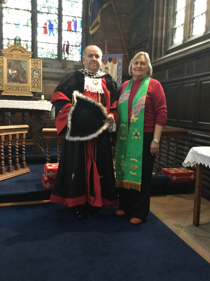 Mayor and his chaplian Rev Kath Williamson