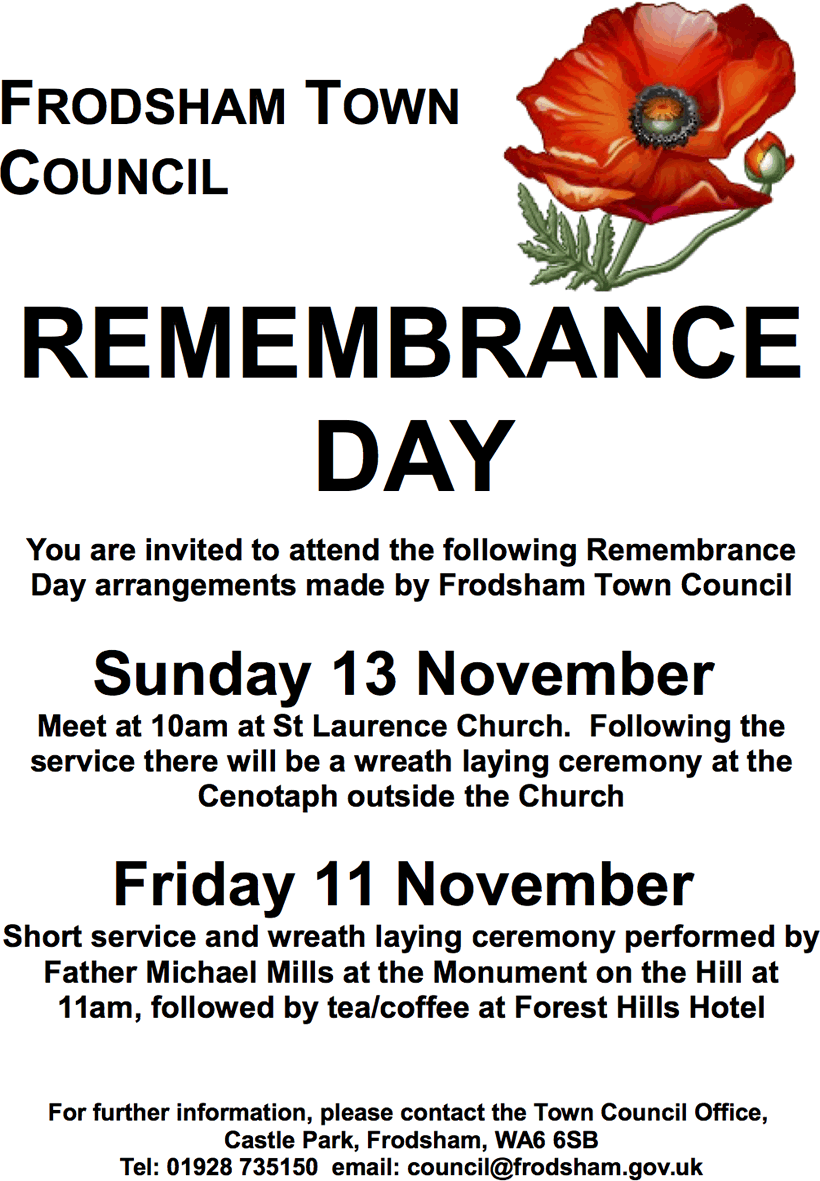 remembrance day 2016 frodsham
