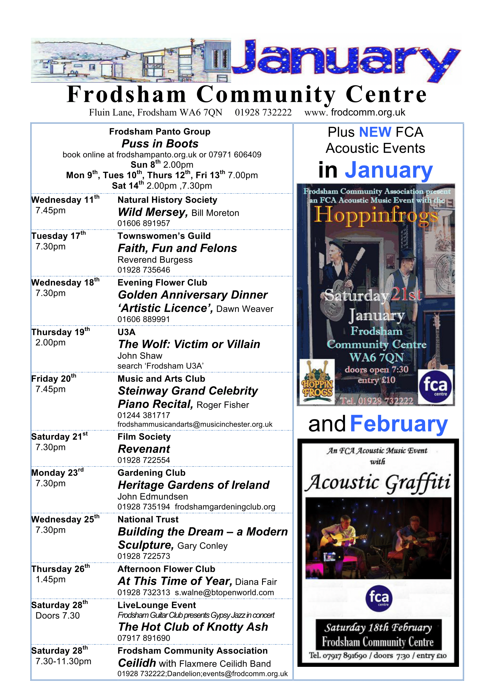 Events listing