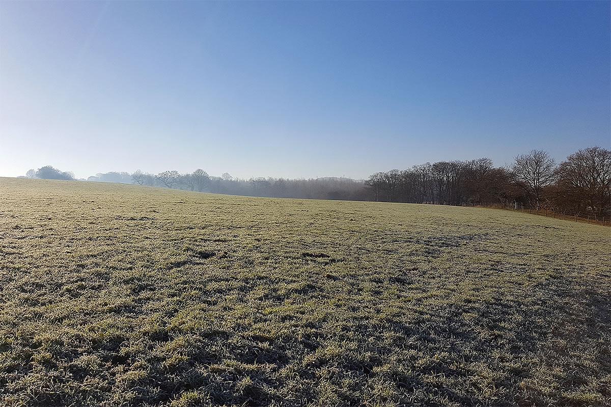 weaver valley frodsham hill frosty fields blue sky