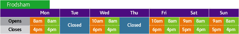 Opening hours for Frodsham site - for accessible version, download PDF from bottom of page