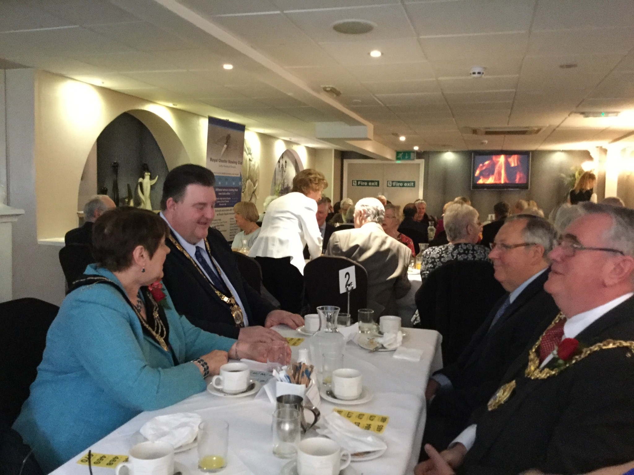 Photo of the Mayor of Frodsham's table companions at the Sheriff of Chester's Breakfast