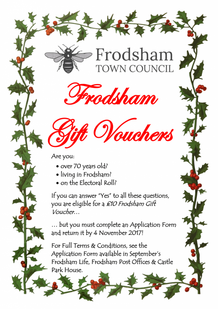 Flyer for Over 70s Christmas Gift Voucher
