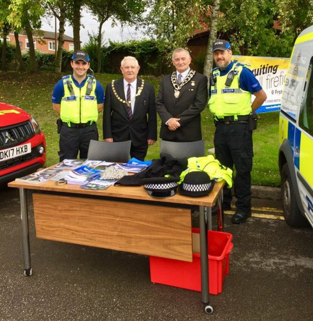 Mayor and DEputy Mayor with local PCSOs Jon and Neil at Fire Station Open Day