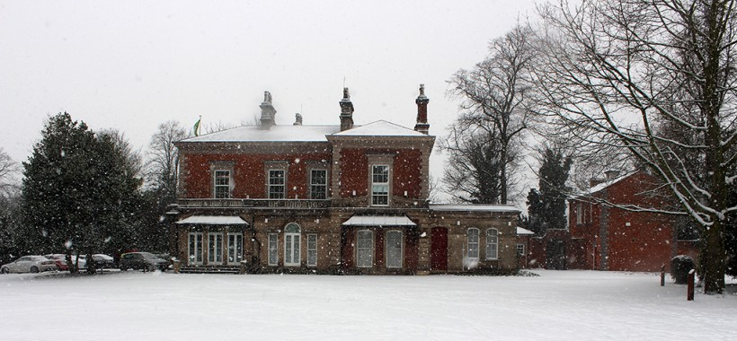 castle house frodsham snow scene in winter 2014
