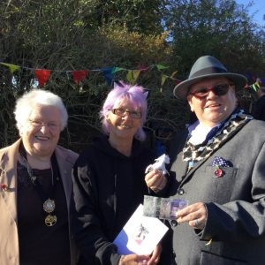 From L to R: Mayor's consort Marjorie Rigby, Val from Spirit of the Herd and Mayor Mallie Poulton at the Family Fun Day