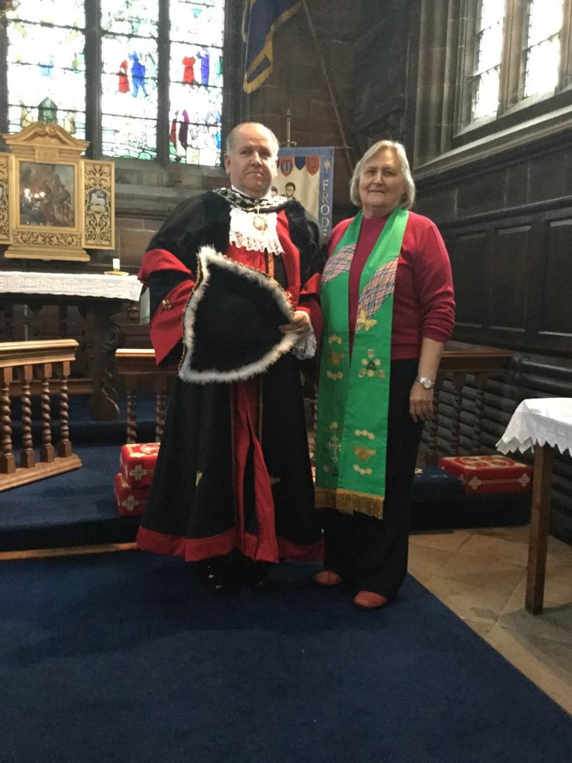 Mayor and his chaplian Rev Kath Williamson