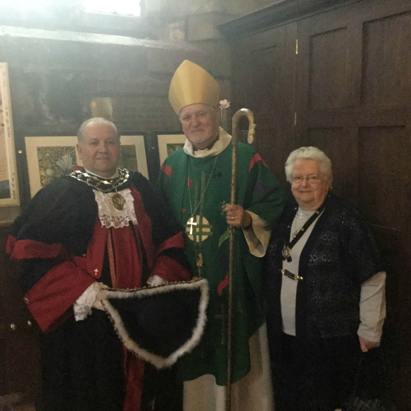 Mayor with the Bishop of Chester and the Mayor's consort Mrs Marjorie Riley