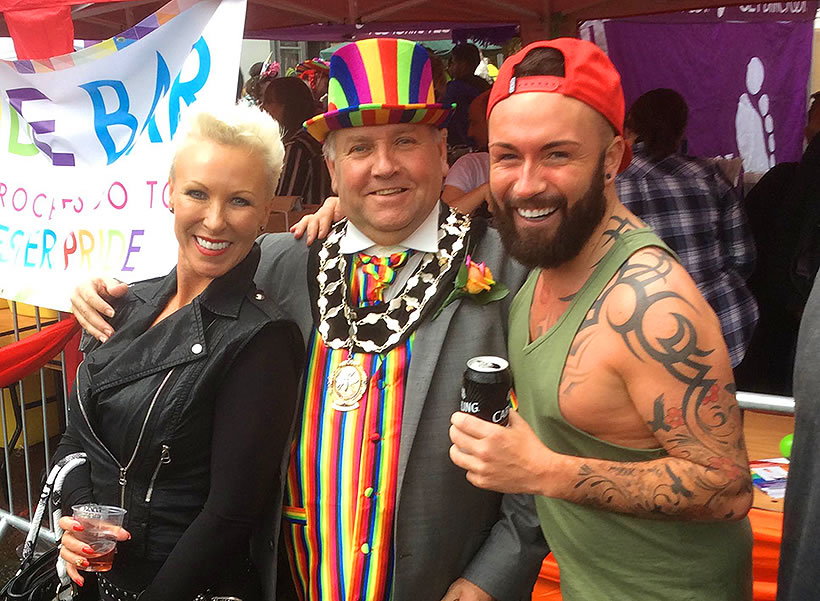 chester pride parade mally poulton frodsham mayor friends