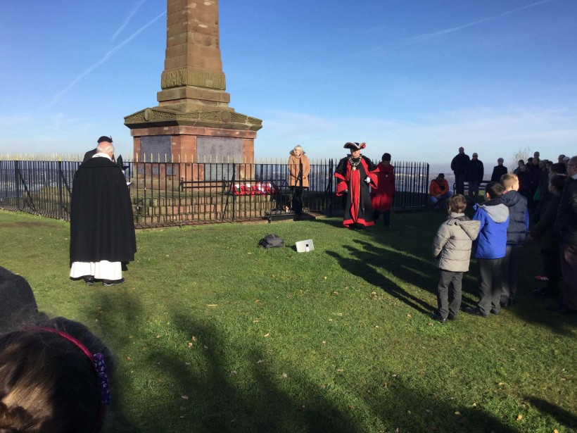 Wreath laying on the hill