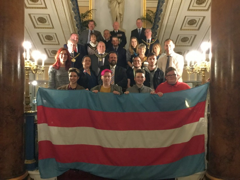 Transgender flag at Liverpool Town Hall