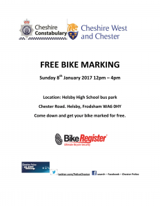 FREE BIKE MARKING, Sunday 8th January 2017 12pm – 4pm at Helsby High School bus park