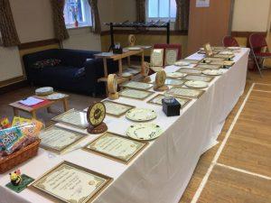 Table full of awards