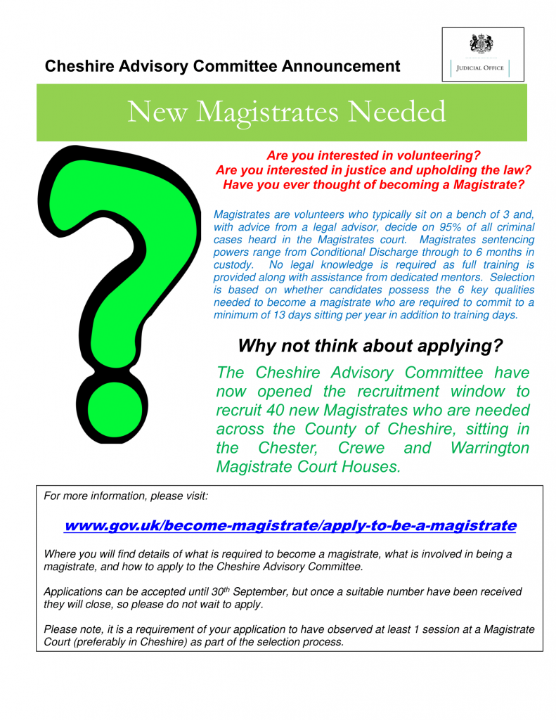 Flyer about Magistrate Recruitment