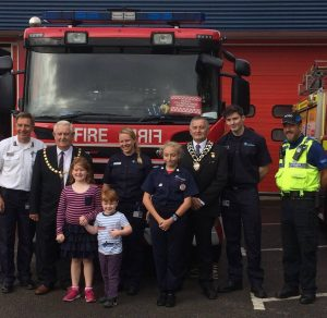 Mayor and DEputy Mayor and others in from of fire engine