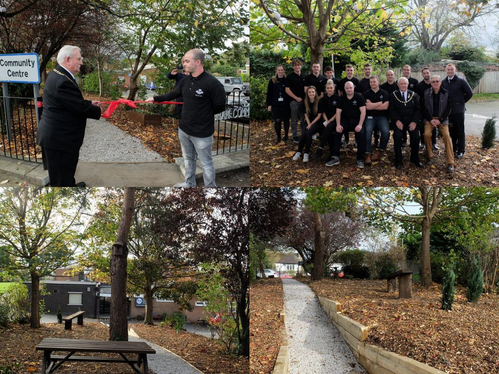 Photos of Deputy Mayor Cllr Frank Pennington opening the new footpath at Frodsham Community Centre
