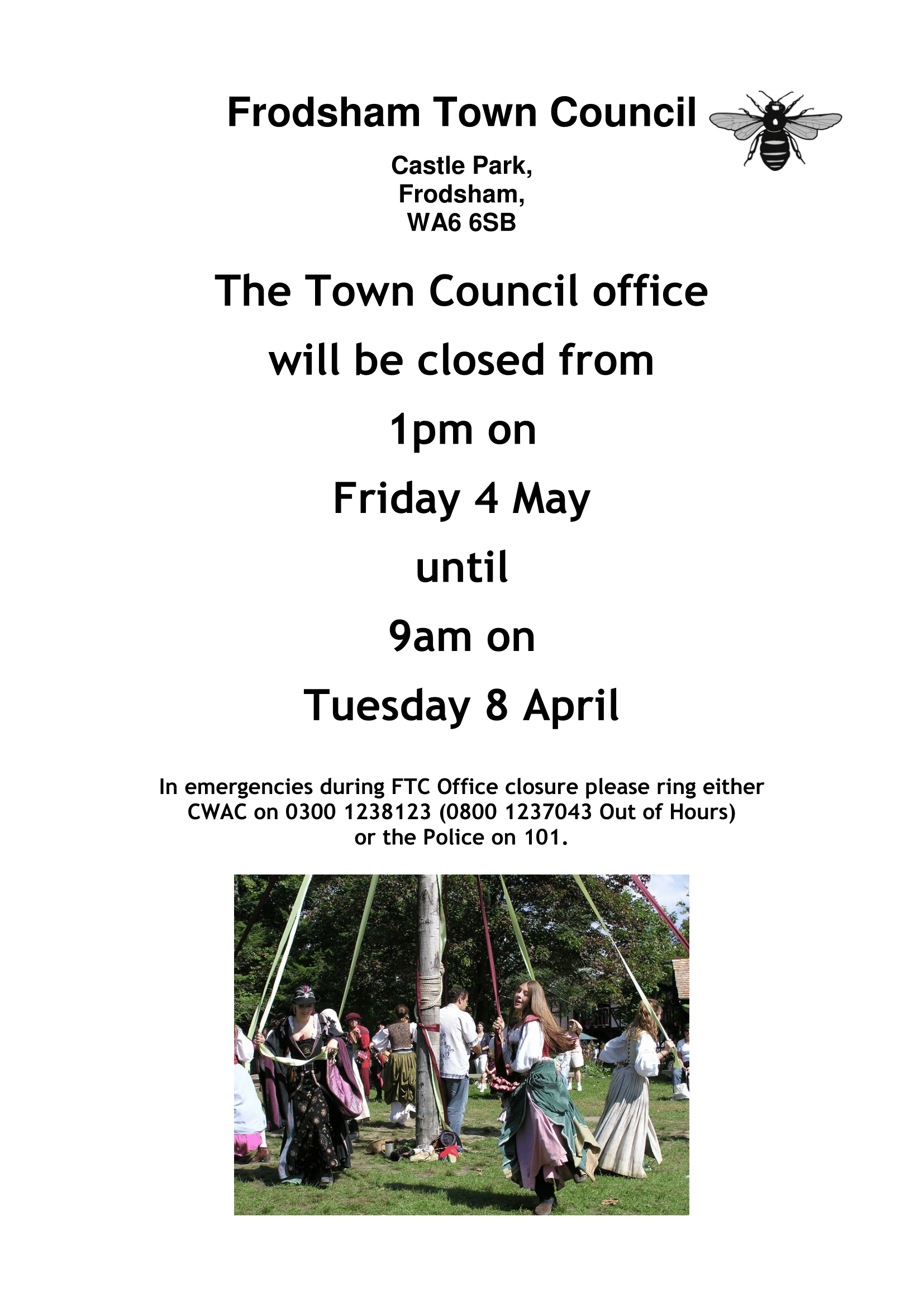 Notice re closing for Early Spring Holiday 2018-1 - Frodsham Town