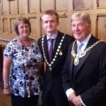 Deputy Mayor Cllr Liam Jones (centre) with his consort Michelle Carter and the Sheriff of Chester Cllr Stuart Parker