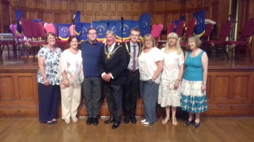 Members of Frodsham Choral Society with the Sheriff of Chester, the Deputy Mayor and his consort