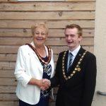 Frodsham Deputy Mayor Cllr Liam Jones with Connah's Quay Town Council Chair Cllr Pam Attridge