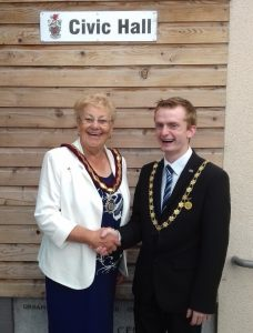 Frodsham Deputy Mayor Cllr Liam Jones with Connah's Quay Town Council Chair Cllr Pam Attridge