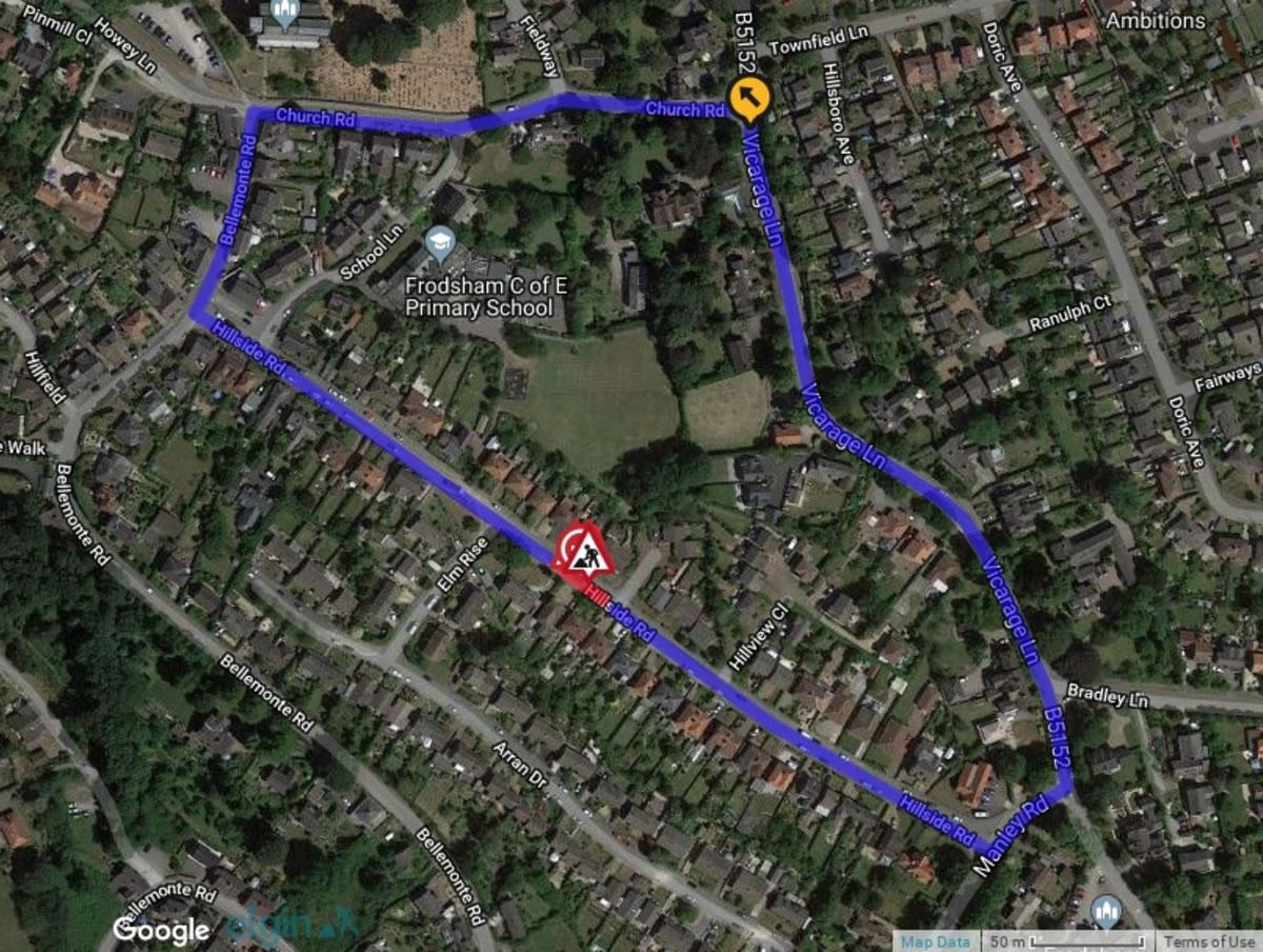 hillside road frodsham detour