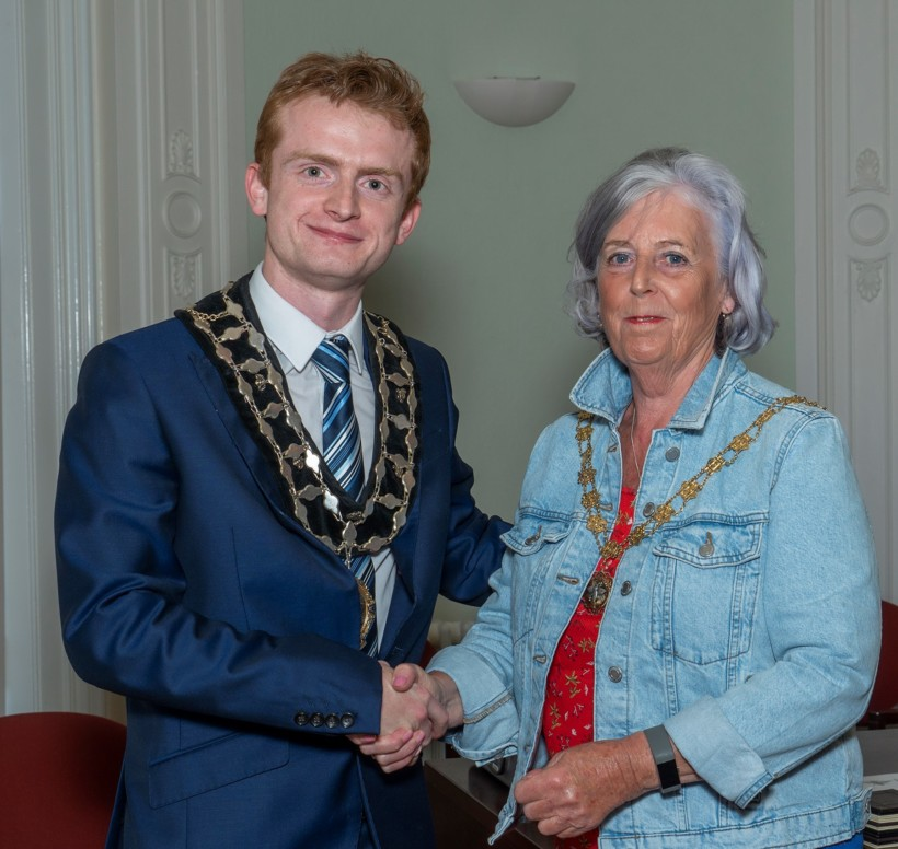 New Mayor Cllr Liam Jones and Deputy Mayor Cllr Caroline Ashton