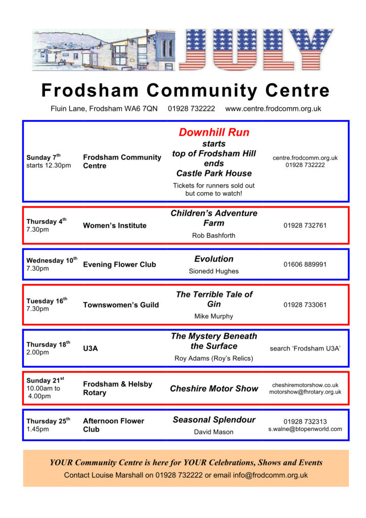 Community Centre programme for July
