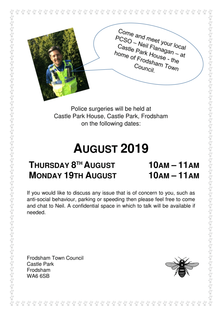Police surgeries poster August 2019