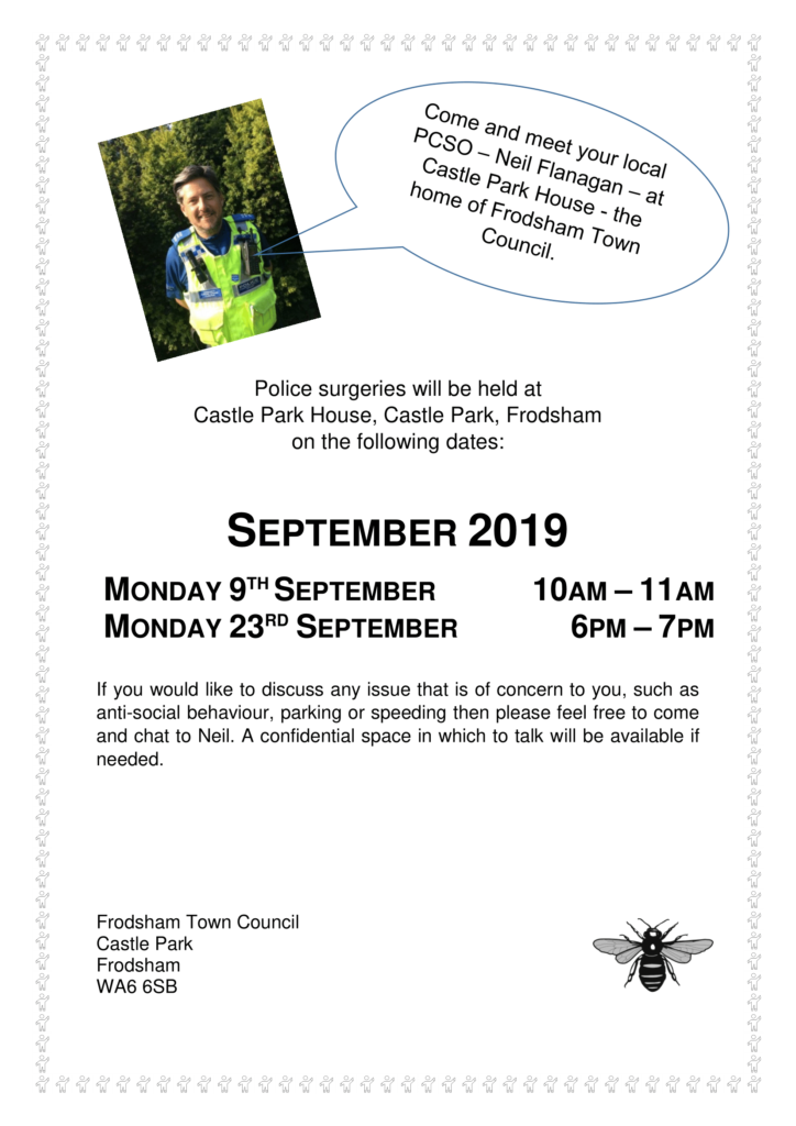 Police surgeries poster September 2019