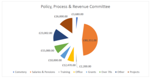 Pie Chart showing breakdown of Policy Process & Revenue Budget