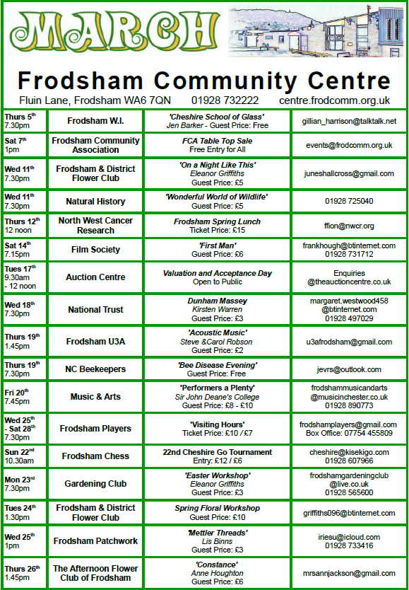 Image of the Community Centre's calendar for March. See the PDF above for accessible version.