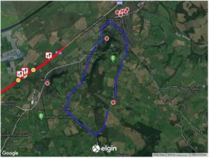 Map showing diversion route