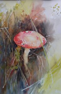 A delicate watercolour painting of a red toadstool, nestled amongst soft grass