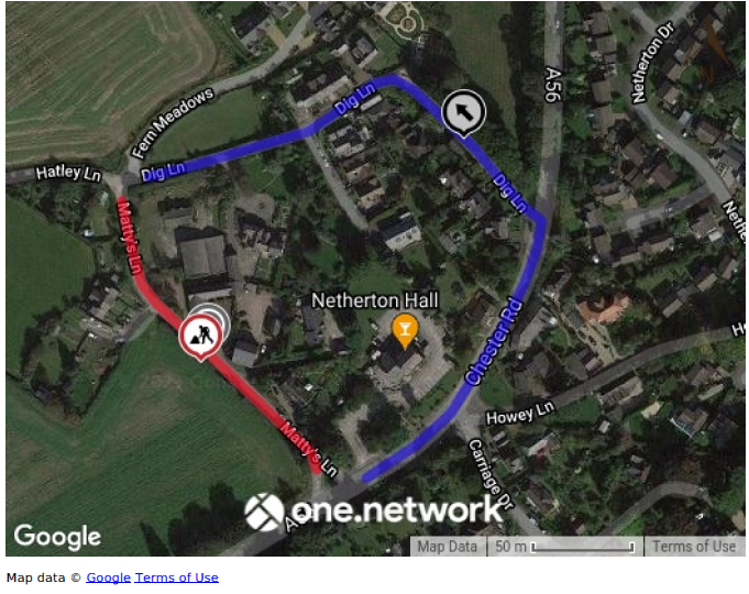 Map showing alternative route for through traffic Dig Lane, Chester Road, Mattys Lane