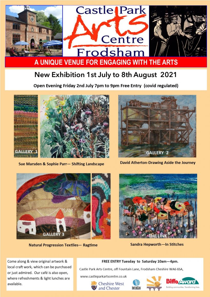 Poster advertising the exhibitions at Castle Park Arts Centre