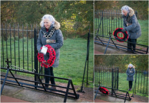 Collage of 3 photos of the Mayor laying a poppy wreath at the Memorial on Overton Hill