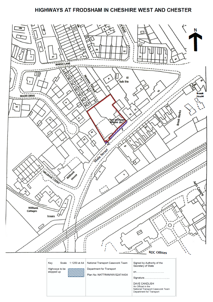 Plan showing hatched area of footpath adjacent to the Cheshire Cheese public house that is the subject of this proposed Stopping Up Order.