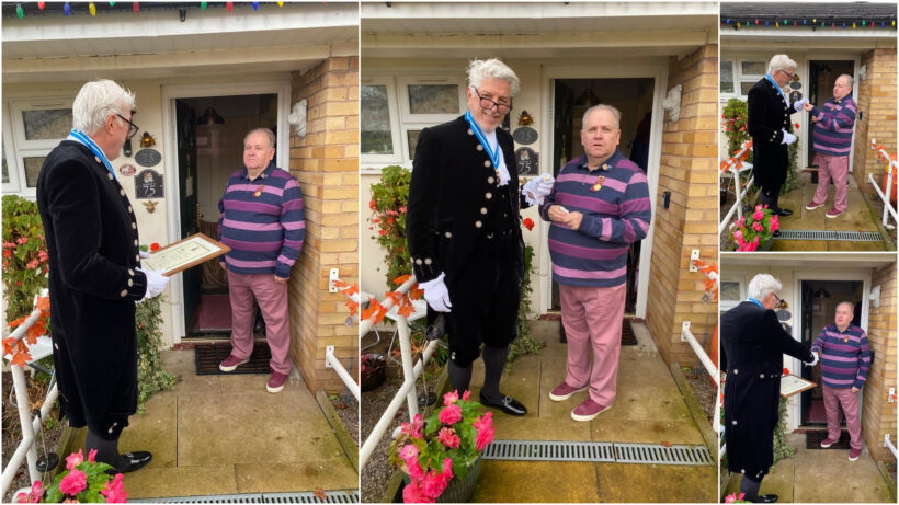 Collage of images of the High Sheriff with Cllr Poulton when he visited him at home to present an award