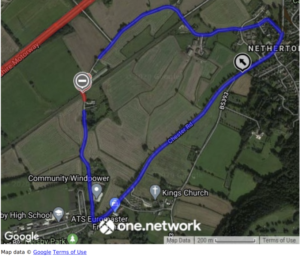 Plan of diversion route via Chester Road, Matty's Lane and Hatley Lane