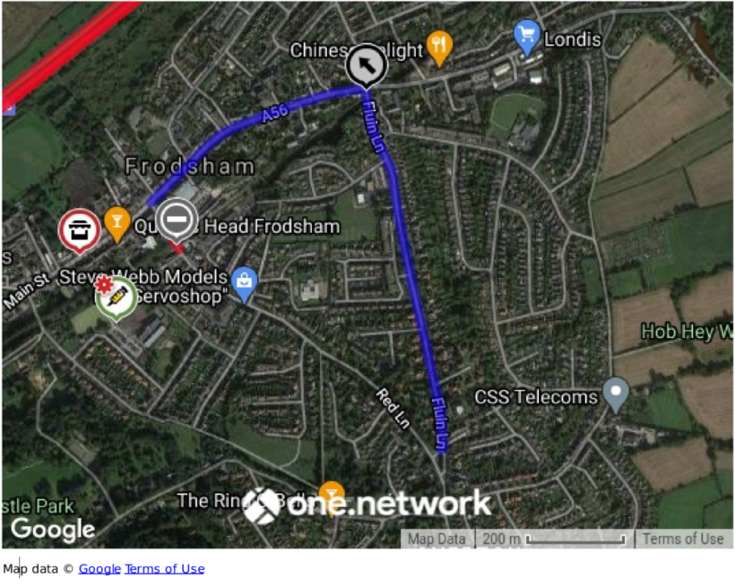 map of diversion route via Main Street, High Street, Fluin Lane and Red Lane