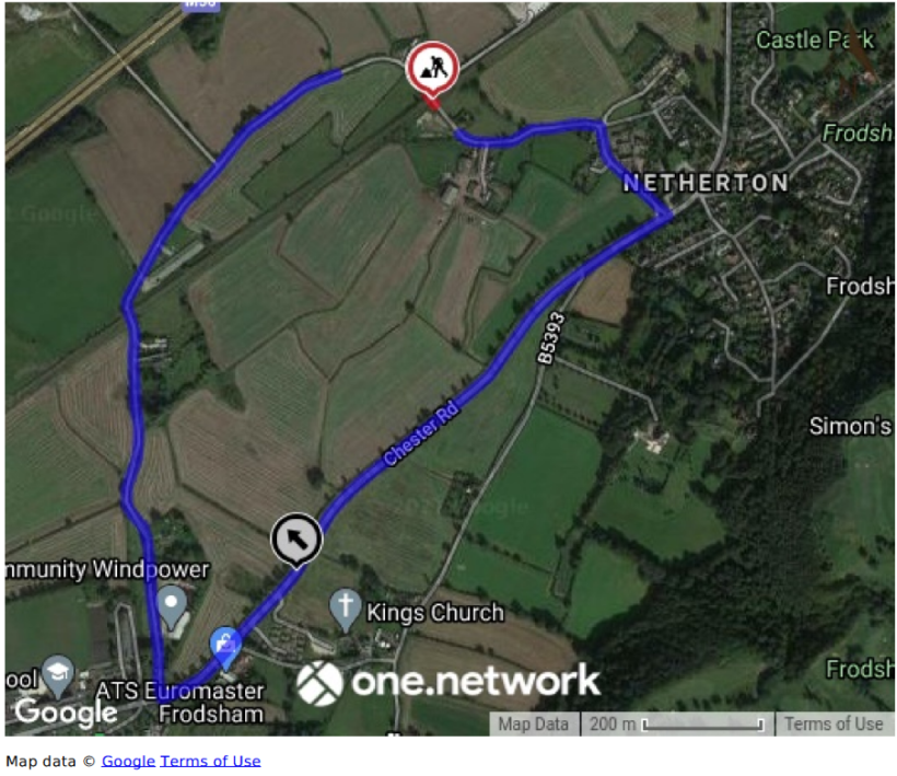 Map of diversion route via Godscroft Lane, Chester Road, Mattys Lane and Hatley Lane