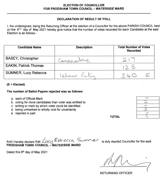 Copy of election result - accessible link to result below image