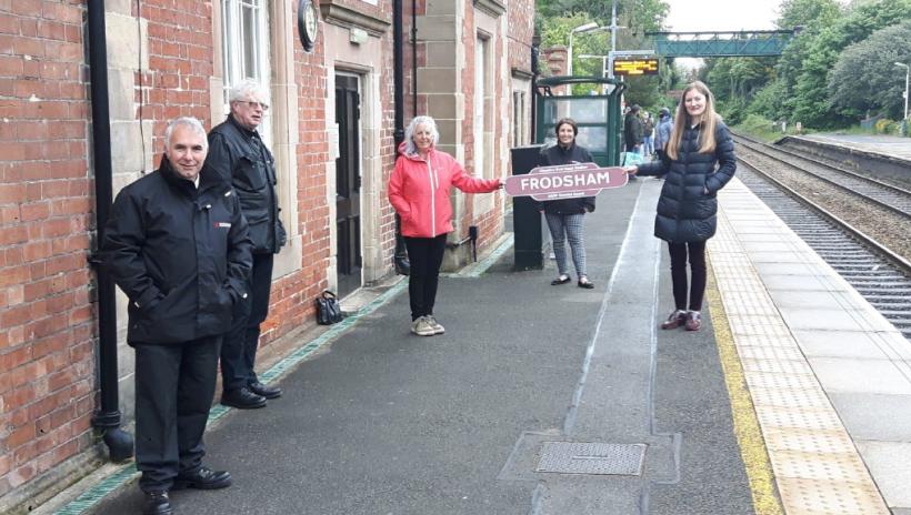 Photo showing Best Kept Station Award presentation at Frodsham