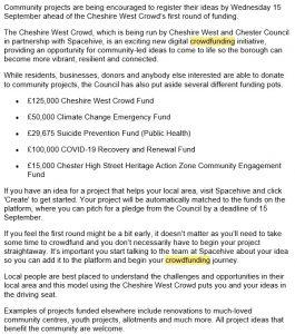 Cheshire West Crowdfunding